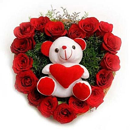Roses N Soft toy: Heart Shaped Gifts