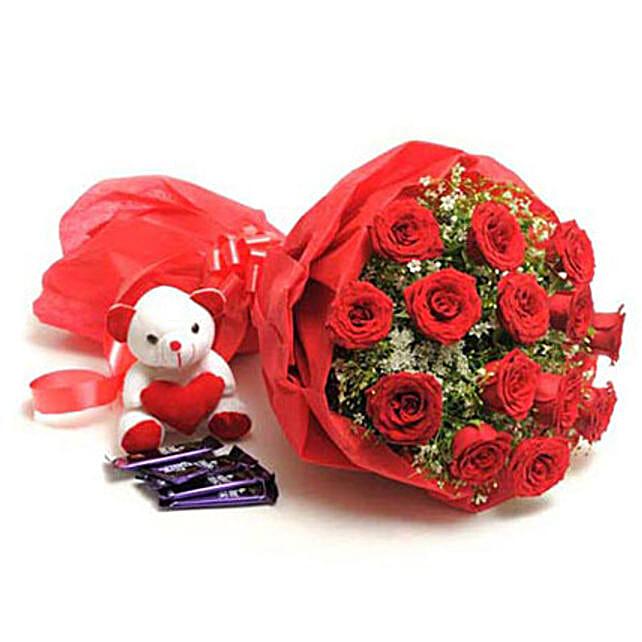 Sweet Romance- Rose Bouquet, Teddy & Dairy Milk: Flowers N Chocolates - anniversary