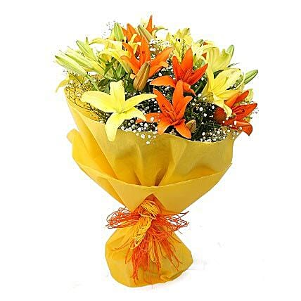 Vibrant Lilies Bouquet: Send Congratulations Flowers for Him