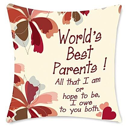 Worlds Best Parents cushion: Anniversary Gifts for Parents