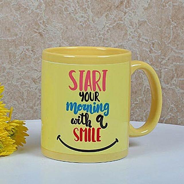 Yellow Ceramic Smiley Mug: Personalised Mugs