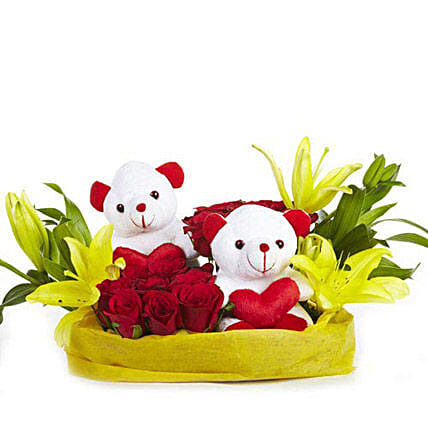 You & Me- Teddy Bear with Roses & Lilies: Basket Arrangements