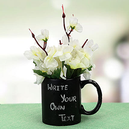 Your Words Mug and Plant: Artificial Flowers