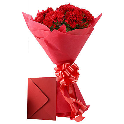 Carnations N Greeting Card: Propose Day Send Flowers & Cards
