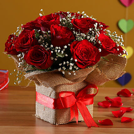 Exotic Red Roses Arrangement: Girlfriend Day Flowers