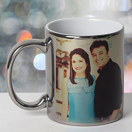 Personalized Ceramic Silver Mug: Send Anniversary Gifts to Vadodara