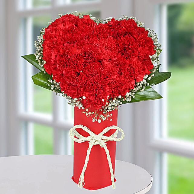 Red Carnation Heart Arrangement: Heart Shaped Flower Arrangements