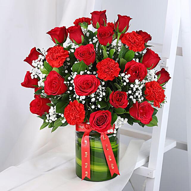 Roses N Carnations Arrangement: Send Carnations