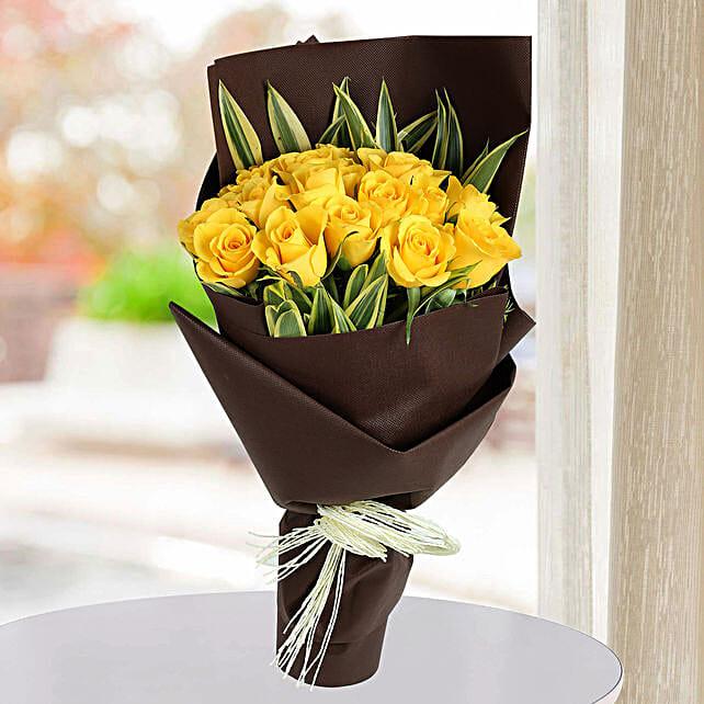 Shining Yellow Roses Bunch: