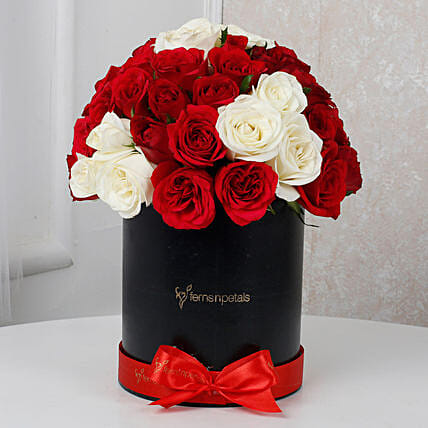 White & Red Roses Box Arrangement: Flowers In box
