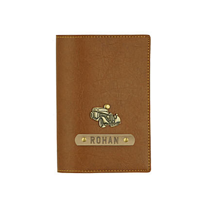 Leather Finish Passport Cover Tan: Personalised Gifts for Men