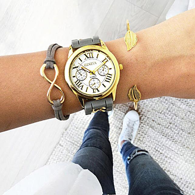 Infinity Grey Bracelet Stack: Send Jewellery Gifts