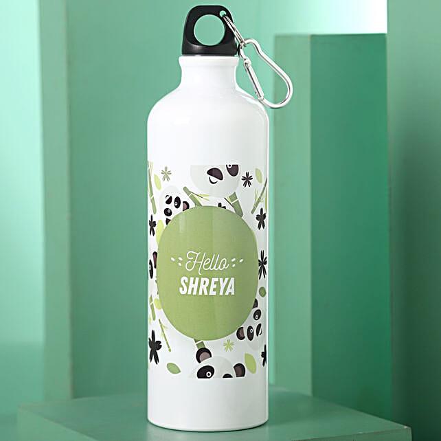 Personalised Hidden Panda Steel Bottle: Personalised Message Bottles