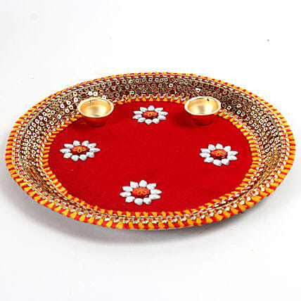 Decorated Red Floral Steel Thali: Send Chhath Puja Gifts
