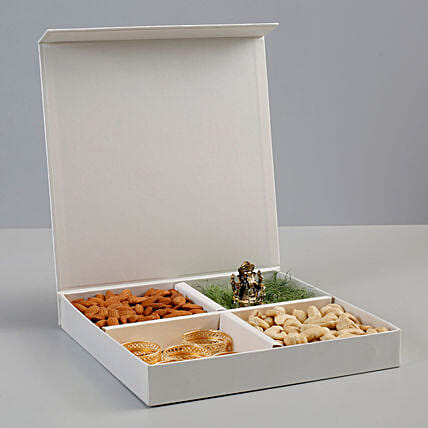 Dry Fruits & Antique Metal Ganesha Idol Gift Box: Diwali Dry Fruits