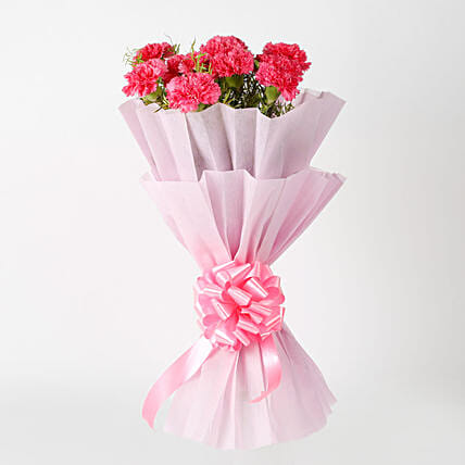 Passionate Pink Carnations Bouquet: Romantic Flowers for Wife