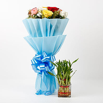 Mixed Roses & Two Layer Lucky Bamboo Combo: Flowers N Plants