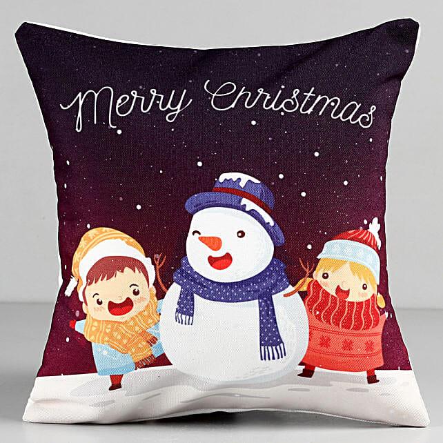 Merry Christmas Snowman Cushion: Send Christmas Gifts