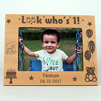 Personalised Look Who's 1 Engraved Photo Frame: Personalised Photo Frames