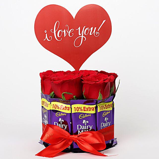 Red Roses in Glass Vase & Dairy Milk Arrangement: Valentine Gifts for Boyfriend