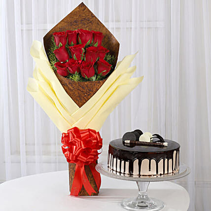 Bouquet of 12 Red Roses & Chocolate Cake: Flowers & Cake Combos