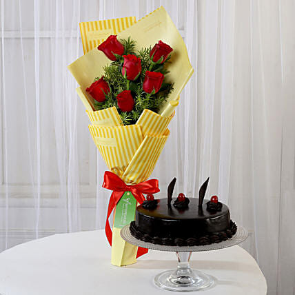 6 Red Roses Bouquet & Truffle Cake: Combo Gifts
