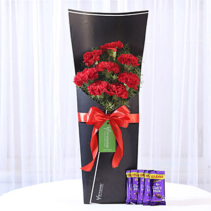 8 Red Carnations Bouquet & Dairy Milk Combo: