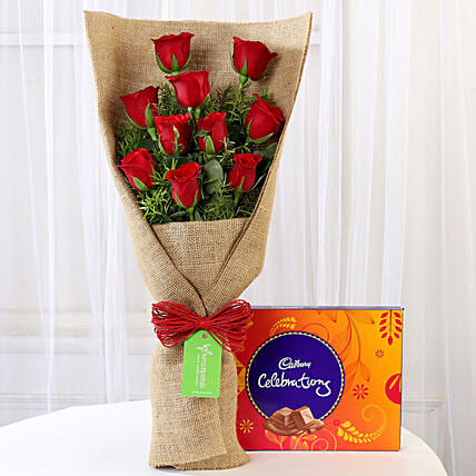 10 Red Roses & Cadbury Celebrations:
