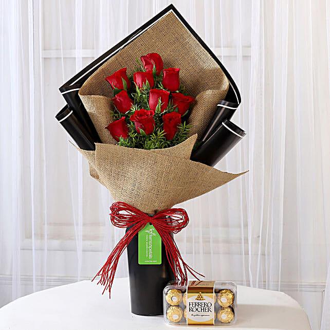 10 Red Roses & Ferrero Rocher Box: Ferrero Rocher Chocolates