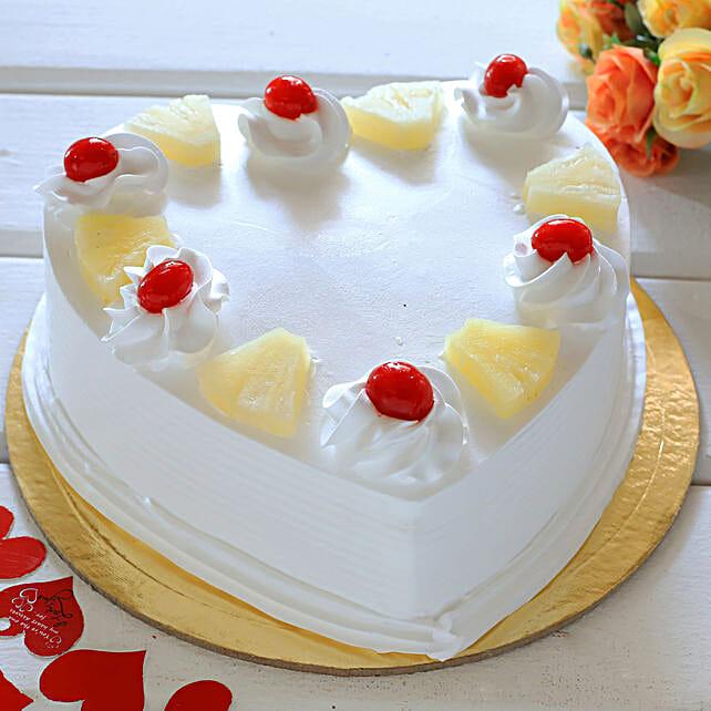 Heart Shaped Pineapple Cake: Karwa Chauth Cakes