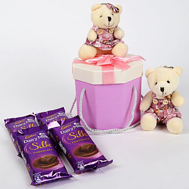 Dairy Milk Silk & Teddy Bear Gift Box: Cadbury Chocolates