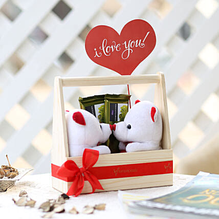 Pair Of Teddy In Wooden Kissing Booth: Cadbury Chocolates