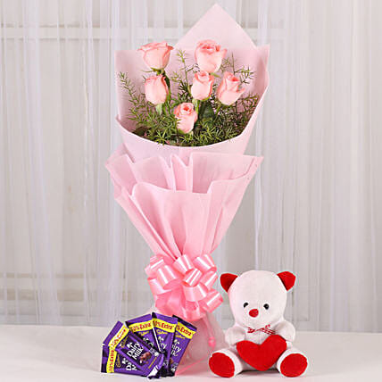 Flowers n Soft toy: Flowers & Teddy Bears for Anniversary