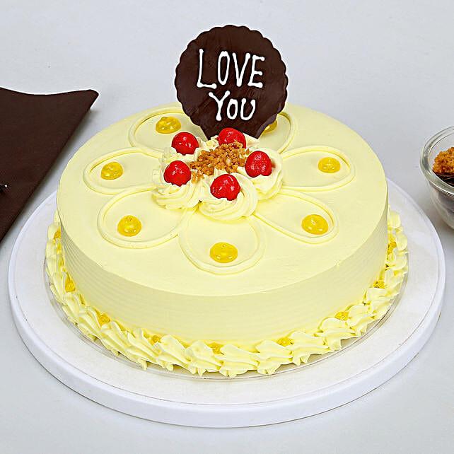 Love You Valentine Butterscotch Cake: Karwa Chauth Cakes
