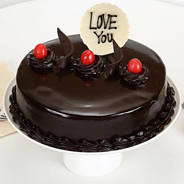 Love You Valentine Truffle Cake: Buy Eggless Cakes
