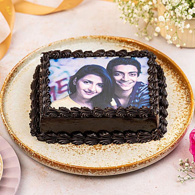 Decorated Chocolate Photo Cake: Photo cakes for anniversary