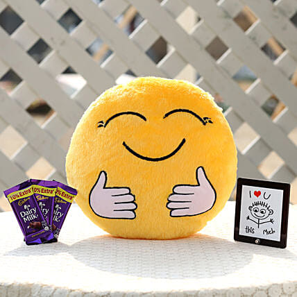 The Hugging Smiley Cushion & Dairy Milk Combo: