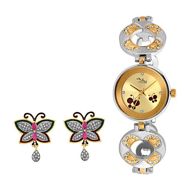 Personalised Watch & Butterfly Earrings Set: