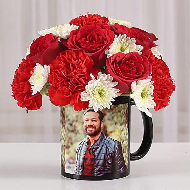 Mixed Flowers in Photo Mug: Coffee Mugs