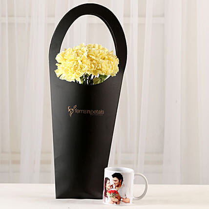 10 Yellow Carnations & Personalised Mug Combo: Custom Photo Coffee Mugs