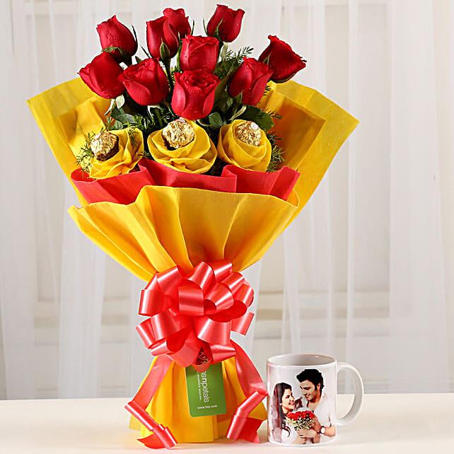 Chocolaty Red Roses & Picture Mug Combo: Personalised Mugs