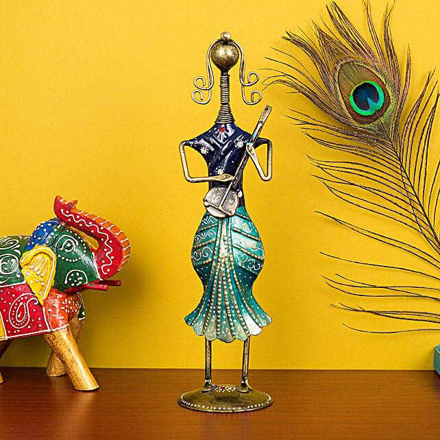 Antique Lady Musician Figurine: Home Decor