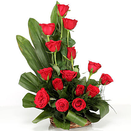 Lovely Red Roses Basket Arrangement: Flowers to Indore