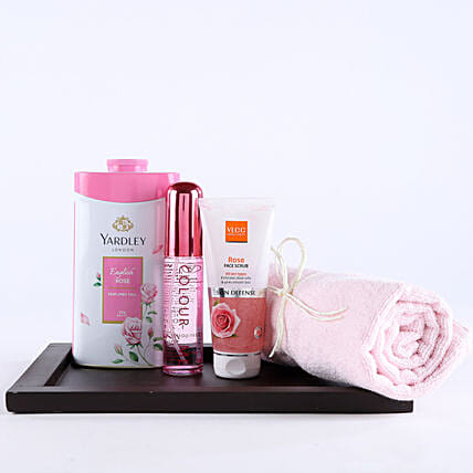Pink Essentials For Girl Hamper: Cosmetics & Spa Hampers