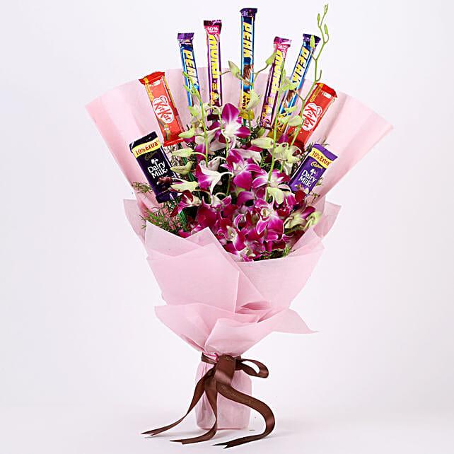 True Feelings- Purple Orchids & Chocolate Bouquet: Orchids
