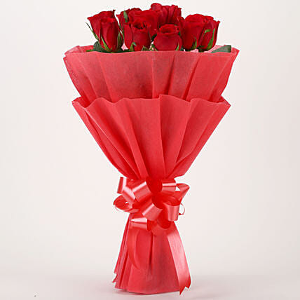 Vivid - Red Roses Bouquet: Send Hug Day Flowers