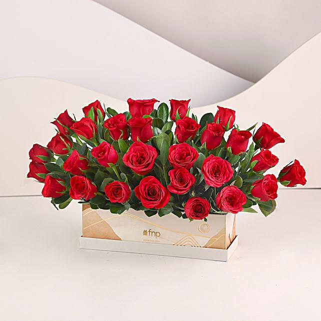 Velvety Love- 30 Red Roses Box: Flowers In box