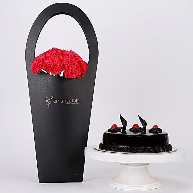 10 Pink Carnations & Truffle Cake Combo:
