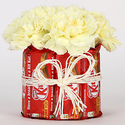 Kit Kat & Yellow Carnations Arrangement: Chocolate Gifts in India