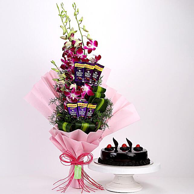 Purple Orchids Posy & Truffle Cake: